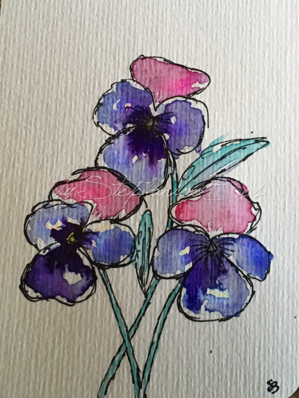 Aquarel viooltjes