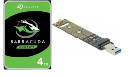 "Seagate HDD 3.5"" 4TB ST4000DM004 Barracuda & M.2 PCIe USB adapter"