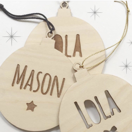 Kerstbal hout 'Naam'