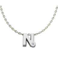 Initials silver necklace N with CZ