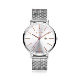 Zinzi Retro horloge zilver met rosé wijzers 38mm