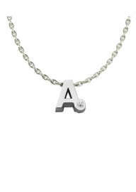 Initials silver necklace A with CZ