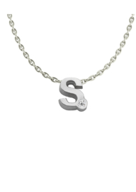 Initials silver necklace S with CZ