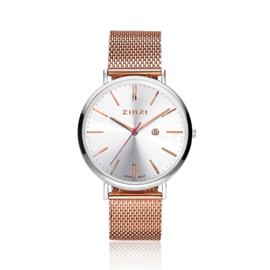 Zinzi Retro horloge zilver gekleurde wijzerplaat en kast met rosé wijzers stalen roségouden mesh band 38mm
