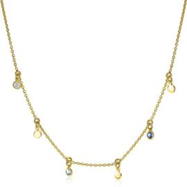 ZINZI zilveren fantasie ketting 14K geel verguld 45cm rond wit blauw ZIC1995G