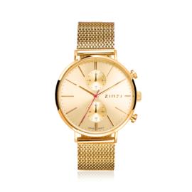 Zinzi Traveller horloge goudgekleurde sunray wijzerplaat en goudkleurige kast stalen mesh band 39mm dual time