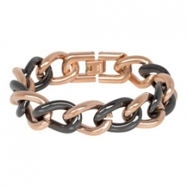 iXXXi steel armband rosé / zwart keramiek 19 cm