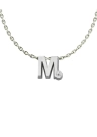 Initials silver necklace M with CZ