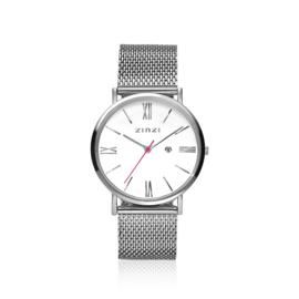 Zinzi Roman horloge witte wijzerplaat 34mm