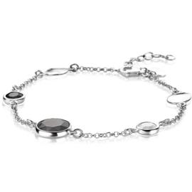 ZINZI zilveren fantasie armband met ronde zettingen zwart/grijs/wit 17-20 cm ZIA2109