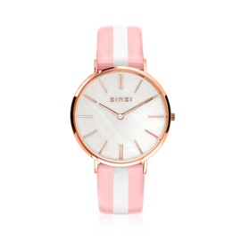 Zinzi Retro horloge roségoud met witte parelmoer wijzerplaat, zilverkleurige wijzers 38mm