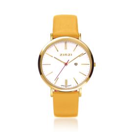 Zinzi Retro horloge witte wijzerplaat geelgoudgekleurde stalen kast lerenband geel 38mm