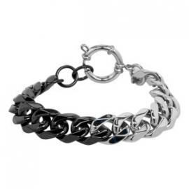 iXXXi steel armband zilver / zwart 19 cm