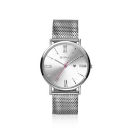 Zinzi Roman horloge zilvergekleurde wijzerplaat en kast 34mm