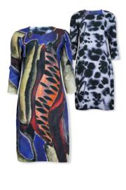 Lizzy & Coco Cary dress scuba print mix chifon shapedleaves - wateranimal