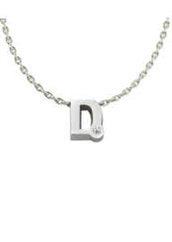 Initials silver necklace D with CZ