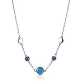 ZINZI zilveren fantasie collier met ronde kleurstenen blauw/kobalt 42-45cm ZIC2110