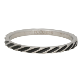iXXXi ring R02812-18 Slanting stripes matt silver / black