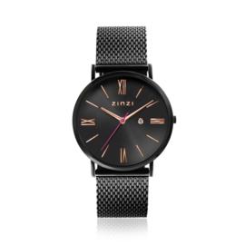 Zinzi Roman horloge zwartgekleurde wijzerplaat en kast met rosé wijzers zwarte stalen mesh band 34mm