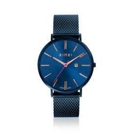 Zinzi Retro horloge blauw gekleurde wijzerplaat met rosé wijzers en blauwe stalen mesh band 38mm