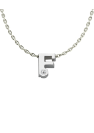 Initials silver necklace F with CZ