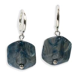 Cube oorbellen Jeans met zilveren haakje