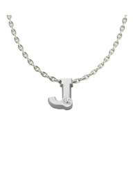 Initials silver necklace J with CZ