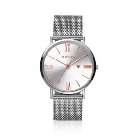 Zinzi Roman horloge zilver met rosé wijzers 34mm