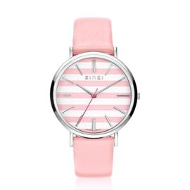 Zinzi Retro horloge roze-wit gestreepte wijzerplaat roze leren band 38mm
