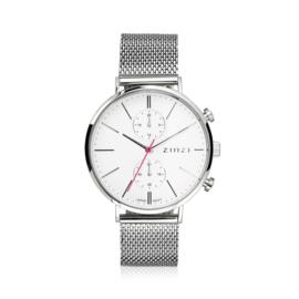 Zinzi Traveller horloge witte wijzerplaat en kast 39mm dual time