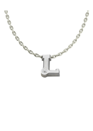 Initials silver necklace L with CZ