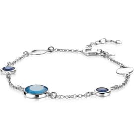 ZINZI zilveren fantasie armband met ronde zettingen blauw/kobalt 17-20 cm ZIA2110