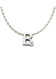Initials silver necklace B with CZ