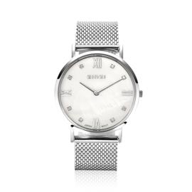 Zinzi roman horloge witte parelmoer wijzerplaat, witte zirconia's , stalen mesh band 34mm