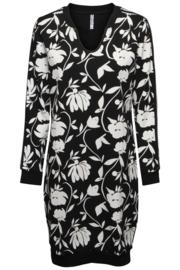 Zoso 194Tiki Sweat dress with allover print navy / off white