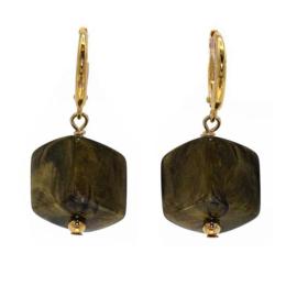 Cube oorbellen Brass met gouden haakje