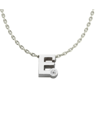 Initials silver necklace E with CZ