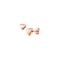 ZINZI zilveren oorknoppen roségoud verguld glad hart 6mm ZIO1378R