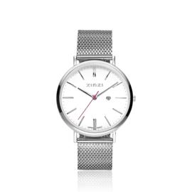 Zinzi Retro horloge witte wijzerplaat stalen kast zilvergekleurd 38mm