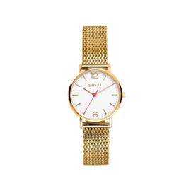 Zinzi Lady horloge witte wijzerplaat stalen kast geelgoud gekleurd 28mm