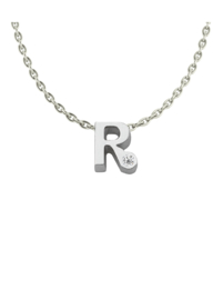 Initials silver necklace R with CZ