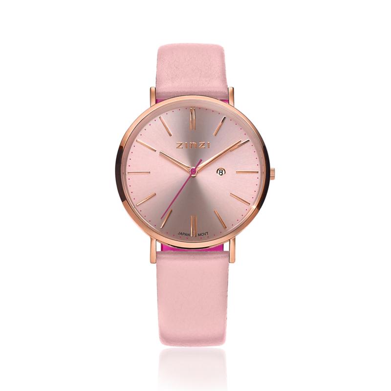 Zinzi Retro horloge roségoud gekleurde wijzerplaat en kast 38mm