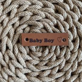 Leren label horizontaal Baby Boy cognac