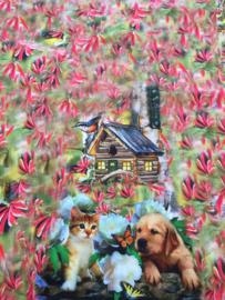 Paneelstof hond met poes