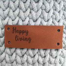 Leren label Happy living cognac