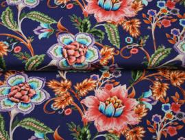 Stenzo digitale jersey print blauw met bloemen