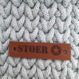 Leren label Stoer cognac