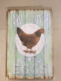 Nostalgisch bordje Farm fresh eggs 106