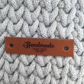 Leren label Handmade cognac