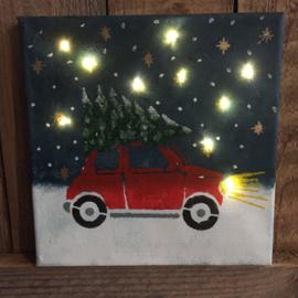 Diy pakket kinderen kerst-schilderijtje met lichtjes
